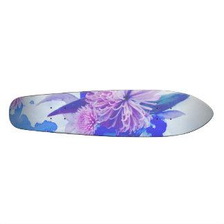 Roxo, azul & cerceta Longboard impresso floral Skate