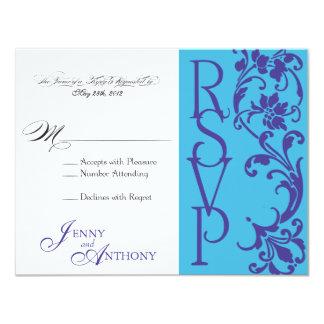 Roxo & azul-céu simples elegantes do vintage de convites