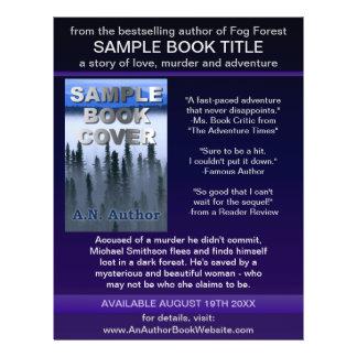 Roxo azul da capa do livro da promoção do autor do panfleto personalizados