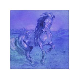 Roxo azul da cópia das canvas do cavalo da impressão em tela