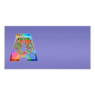 Roxo azul de brilho n NumberONE AAA Cartão Com Foto