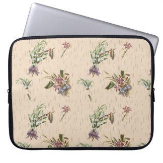 Roxo azul de Tan da flor floral dos arcos Capa Para Laptop