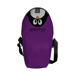 roxo bonito do pinguim dos desenhos animados bolsas mensageiro