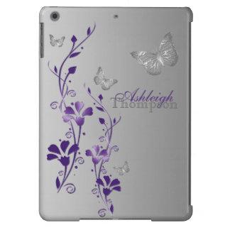 Roxo, caixa floral do ar do iPad da borboleta cinz Capa Para iPad Air