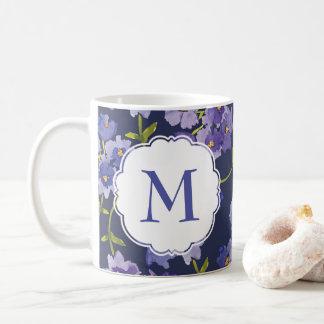 Roxo & caneca floral personalizada azul do