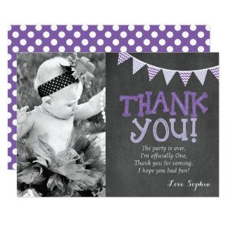 Roxo & cartões de agradecimentos do aniversário da convite 12.7 x 17.78cm