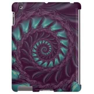 Roxo & caso espiral do iPad do Fractal do Aqua Capa Para iPad