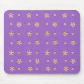 Roxo com flores amarelas e design dos pontos mouse pad