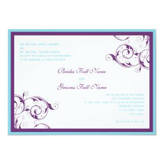roxo & convite azul do casamento do flourish