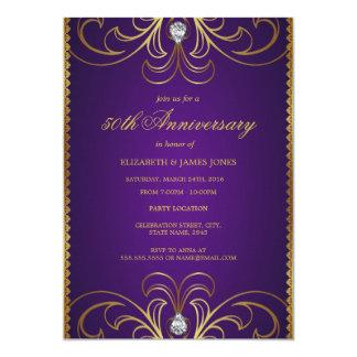 Roxo & convite do aniversário de casamento do ouro