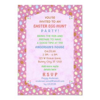 Roxo cor-de-rosa retro elegante do partido da caça convite 12.7 x 17.78cm