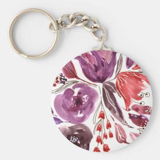 Roxo da aguarela + Chaveiro floral cor-de-rosa do