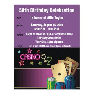 Roxo da celebração do aniversário do tema do convite 10.79 x 13.97cm