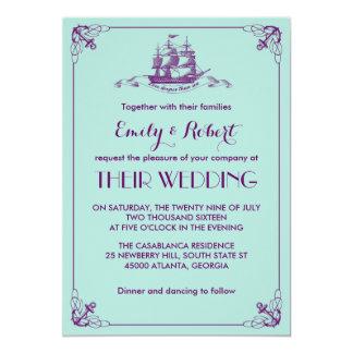 Roxo da cerceta do convite do casamento do marinho