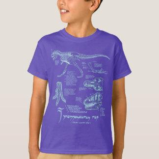 Roxo de esqueleto da camisa do tiranossauro