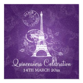 Roxo de Paris do partido da celebração de Convite Quadrado 13.35 X 13.35cm
