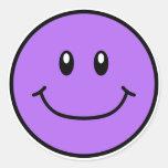 Roxo de sorriso 0001 das etiquetas da cara adesivo em formato redondo