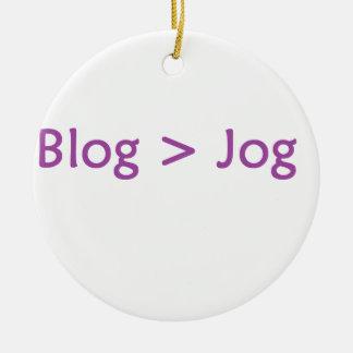 roxo do blogue ornamento de cerâmica redondo