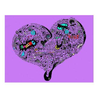 Roxo do cartão do coração dos grafites