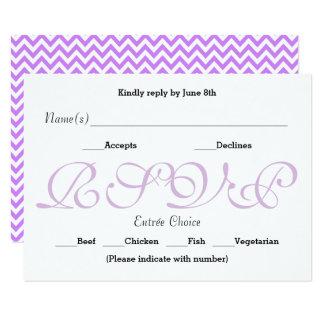 Roxo do fundo - cartão da resposta da recepção de convite 8.89 x 12.7cm