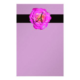 Roxo do monograma do rosa do rosa quente papelaria