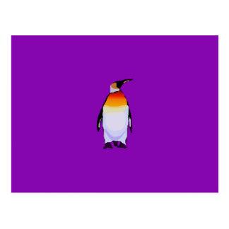 Roxo do pinguim cartão postal