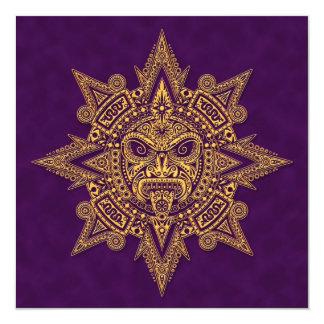 Roxo dourado da máscara asteca de Sun Convite