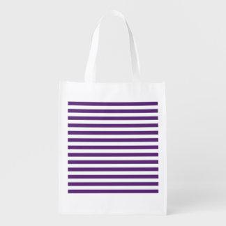 Roxo e branco listra a bolsa de compra reusável sacola ecológica para supermercado