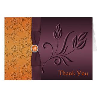 Roxo e cartões de agradecimentos da tangerina
