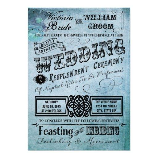 Roxo e casamento azul da tipografia do vintage da  convite personalizado