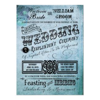 Roxo e casamento azul da tipografia do vintage da convite 16.51 x 22.22cm