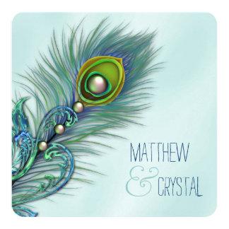 Roxo e casamento azul do pavão da cerceta convite quadrado 13.35 x 13.35cm