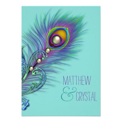 Roxo e casamento azul do pavão da cerceta convite personalizado
