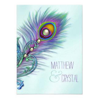 Roxo e casamento azul do pavão da cerceta convite 13.97 x 19.05cm