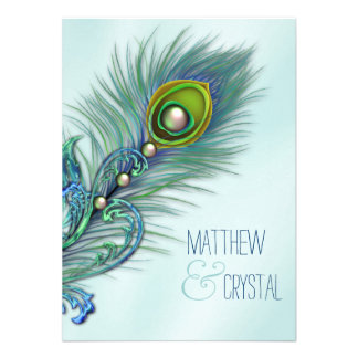 Roxo e casamento azul do pavão da cerceta convite