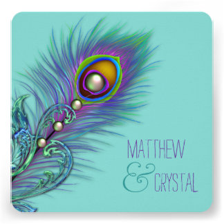 Roxo e casamento azul do pavão da cerceta convites personalizados
