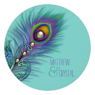 Roxo e casamento azul do pavão da cerceta convites personalizado