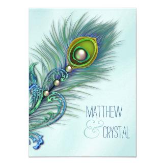 Roxo e casamento azul do pavão da cerceta convite 11.30 x 15.87cm