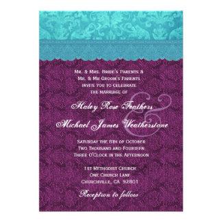 Roxo e casamento tema damasco azul G500C do Aqua Convite Personalizado