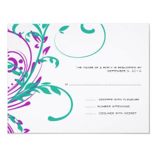 Roxo e cerceta RSVP Wedding floral dobro Convite 10.79 X 13.97cm
