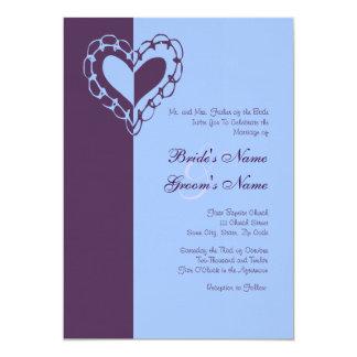 Roxo e convite do casamento do coração da pervinca