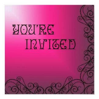 Roxo e cor-de-rosa com convite preto de Swrils