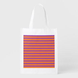 Roxo e laranja listra a bolsa de compra reusável sacolas ecológicas para supermercado