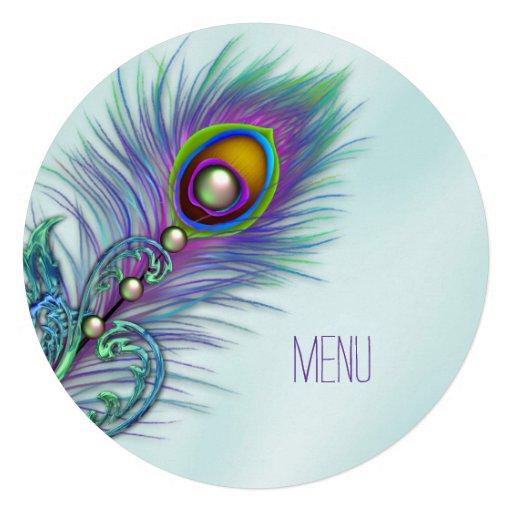 Roxo e menu azul do casamento do pavão da cerceta convites personalizado