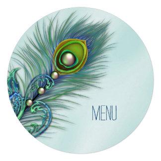 Roxo e menu azul do casamento do pavão da cerceta convite