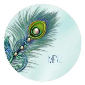 Roxo e menu azul do casamento do pavão da cerceta convite quadrado 13.35 x 13.35cm