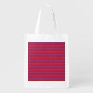 Roxo e vermelho listra a bolsa de compra reusável sacolas ecológicas