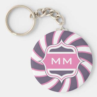 Roxo espiral retro do rosa quente do monograma chaveiro