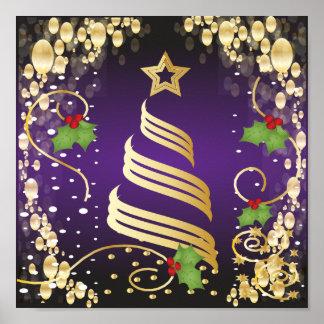 Roxo festivo e ouro da paixão do Feliz Natal Posteres