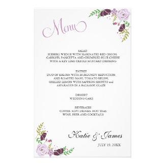 Roxo floral do menu | do casamento papelaria